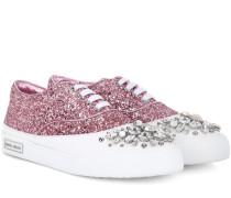 Verzierte Sneakers aus Leder mit Glitter