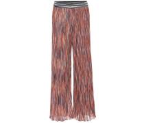 Gemusterte Hose mit weitem Bein aus Feinstrick