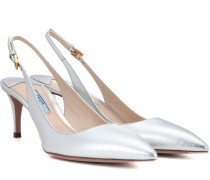 Slingback-Pumps aus Metallic-Leder