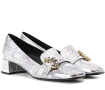 Verzierte Loafer-Pumps Berry aus Metallic-Leder