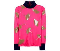 Verzierter Pullover aus Satin mit Rippstrickbündchen
