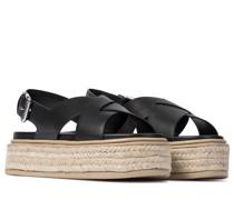Espadrille-Sandalen mit Leder