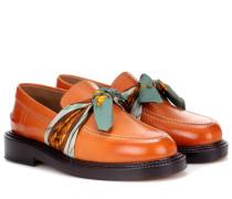 Loafers aus Leder mit Seidenbesatz