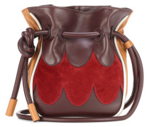 Bucket-Bag aus Leder und Veloursleder