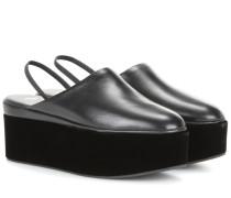 Plateau-Sandalen aus Leder und Samt