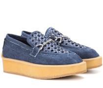 Plateau-Loafers aus Denim