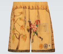 Bedruckte Rugby-Shorts aus Cord