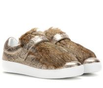 Sneakers Lucie aus Metallic-Leder mit Pelz