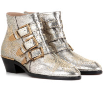 Ankle Boots Susanna aus Metallic-Leder