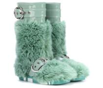 Stiefel mit Faux Fur und Lackleder