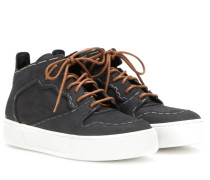 Sneakers Multimatieres Monochrome Staples aus Nubukleder