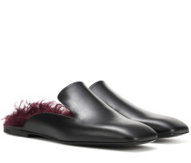 Slippers aus Leder mit Shearling