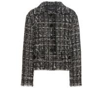 Tweed-Jacke aus einem Woll-Angora-Seidengemisch