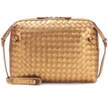 Intrecciato metallic leather shoulder bag