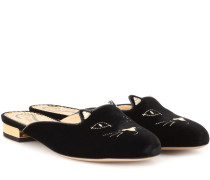Samt-Slippers Kitty Flat