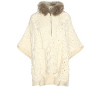Strickpullover aus einem Wolle-Alpaka-Gemisch mit Pelzbesatz
