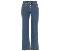 Mid-Rise Straight Jeans