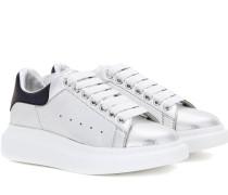 Sneakers aus Metallic-Leder