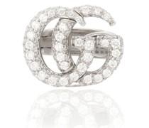 Ohrring Double G aus 18kt Weißgold mit Diamanten