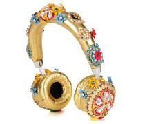 Exklusiv bei mytheresa.com – Verzierte Kopfhörer aus Metallic-Leder
