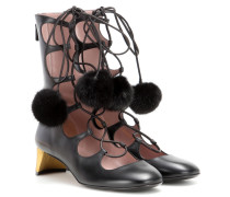 Lace-up-Booties aus Leder mit Nerz