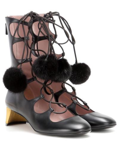 Lace-up-Booties aus Leder mit Nerz
