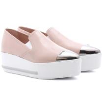 Plateau-Loafers aus Lackleder