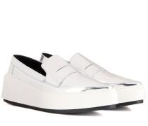 Plateau-Loafers aus Metallic-Leder