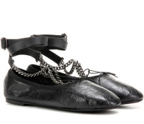 Garavani Ballerinas Rockstud Ballet Noir aus Leder