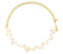 Vergoldete Halskette Two Faced Shelley mit Perlen