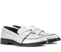 Loafers aus Metallic-Leder