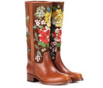 Bestickte Stiefel aus Veloursleder und Leder