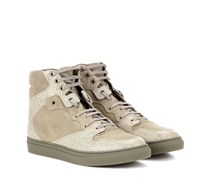 High-Top-Sneakers aus geprägtem Leder und Veloursleder