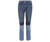 Cropped Jeans in Patchwork-Optik
