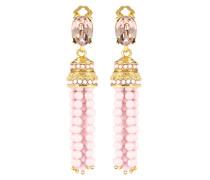 Clip-Ohrringe mit Kristallsteinen und Perlen