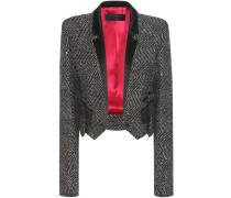 Verzierte Cropped Jacke aus einem Schurwollgemisch mit Satinbesatz