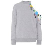 Verzierter Baumwoll-Sweater mit Cut-out