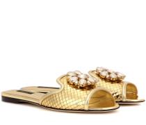 Kristallverzierte Sandalen Bianca aus Metallic-Leder