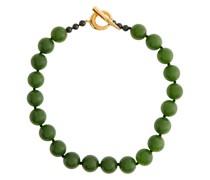Halskette aus vergoldetem Sterlingsilber und Jade