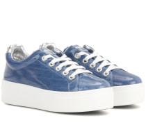 Plateau-Sneakers aus beschichtetem Denim