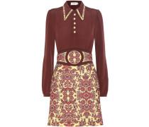 Kleid aus einem Wollgemisch und Crêpe de Chine