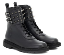 Ankle Boots Rockstud Combat aus Leder