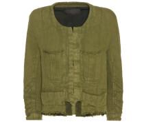 Cropped Jacke aus Baumwoll-Leinengemisch