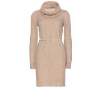 Cashmere-Kleid Ellen mit abnehmbarem Loop-Schal und Ledergürtel