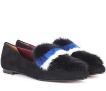 Loafers aus Veloursleder mit Nerz