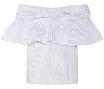 Off-Shoulder-Bluse aus Baumwolle, Seide und Leinen