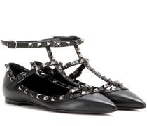 Garavani Ballerinas Rockstud Noir aus Leder