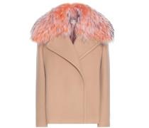 Jacke aus Schurwolle und Cashmere mit Pelzkragen