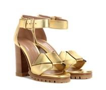 Sandalen aus Metallicleder