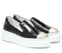 Plateau-Sneakers aus Lackleder